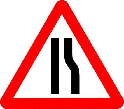 free vector Road Narrows Sign clip art
