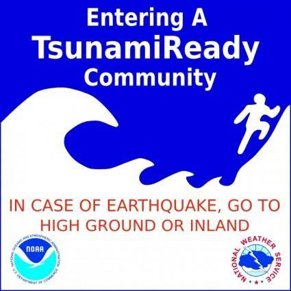 Tsunami Warning Sign clip art