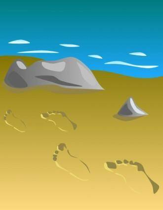 Footprints In Sand clip art