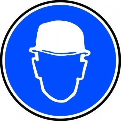 Mantatory Hard Hat Over Head clip art