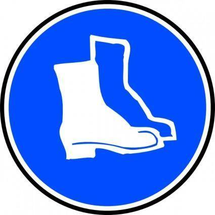 free vector Mandatory Feet Protection Hard Boots clip art
