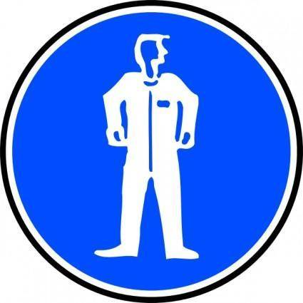 Mandatory Bodily Protection Blue Sign Sticker clip art