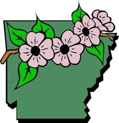 free vector Arkansas Map And Flower clip art