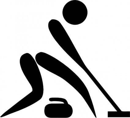 free vector Olympic Sports Curling Pictogram clip art
