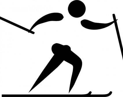 free vector Olympic Sports Cross Country Skiing Pictogram clip art