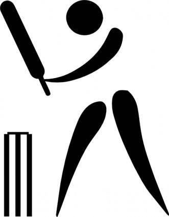 free vector Olympic Sports Cricket Pictogram clip art