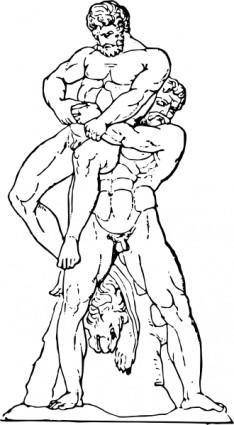 Heracles And Antaios clip art