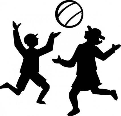 Silhouette Of Kids Playing With A Ball clip art