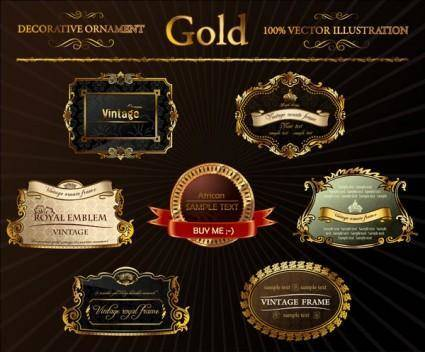 free vector Gorgeous gold label vector