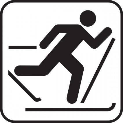 free vector Ice Skiing Map Sign clip art