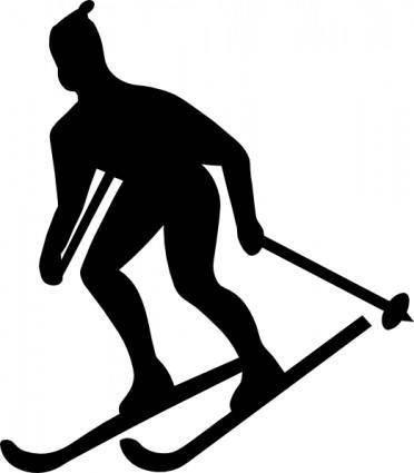 free vector Skier Silhouette clip art