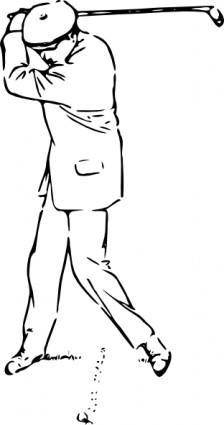 Golfer At The Top Of The Stroke clip art