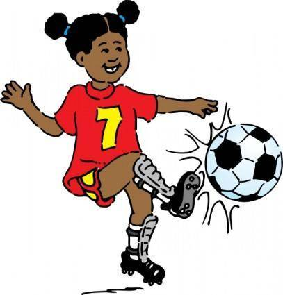 free vector Girl Playing Soccer clip art