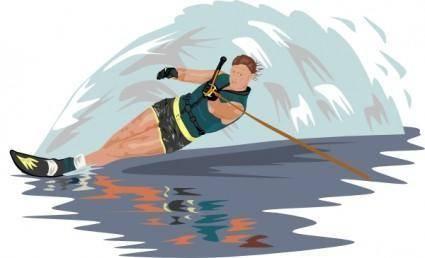Slalom Water Skier clip art