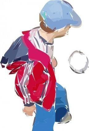 A Boy Plays Soccer clip art