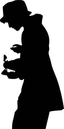 Silhouette Person With Hat clip art