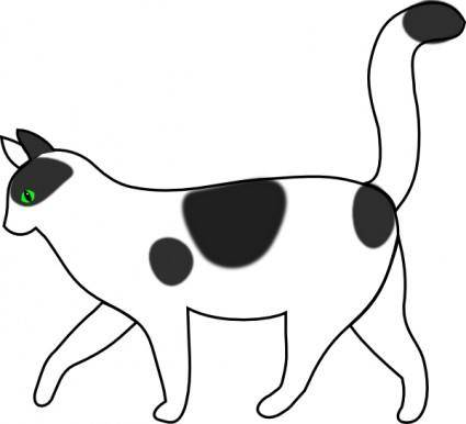 White Cat Walking clip art