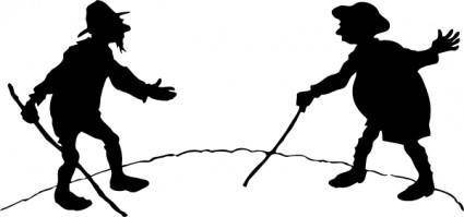 Two Men With Canes clip art