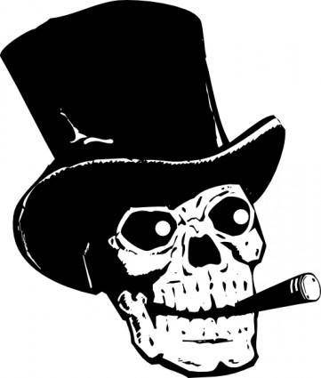 Skull With Top Hat And Ccigar clip art