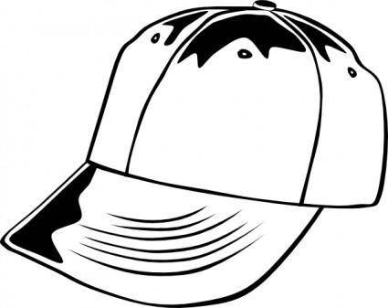 Baseball Cap (b And W) clip art