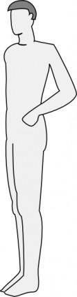 Male Silhouette Side Standing clip art