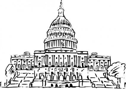Us Capitol Building Inkpen Style clip art