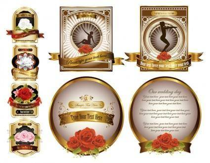 free vector Rose gold european label vector