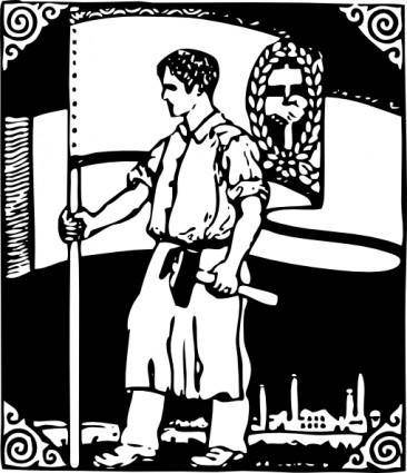 A Worker And A Flag clip art