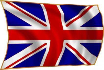 United Kindom Union Flag Fluttering In Breeze clip art