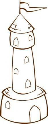 Round Tower With Flag clip art