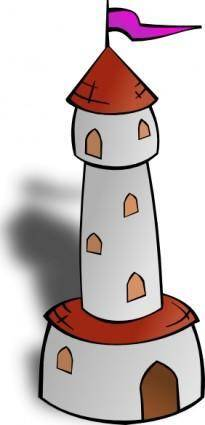 free vector Round Tower With Flag clip art