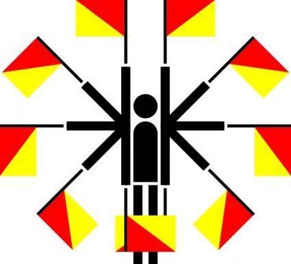 Naval Semaphore Flag Positions clip art