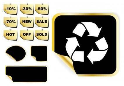 free vector Golden sticker vector