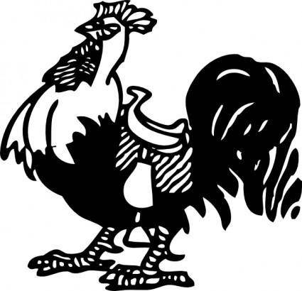 Rooster With A Saddle clip art