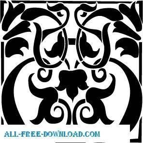 free vector Baroc patern stencil free