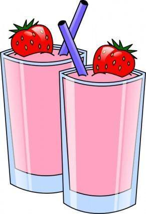 Strawberry Smoothie Drink Beverage Cups clip art