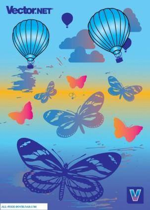 free vector Hot Air Balloons and Butterflies