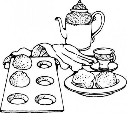 free vector Coffee And Rolls Breakfast clip art