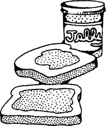 free vector Peanut Butter And Jelly Sandwich clip art