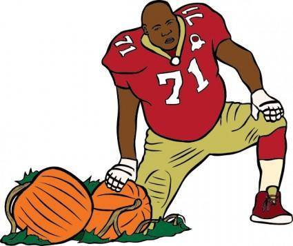 Football Player With Pumpkin clip art
