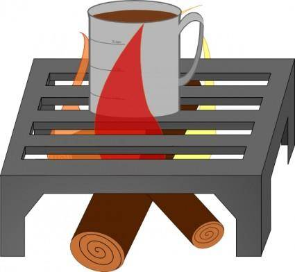 free vector Oreomasta Coffee Cup Over Fire Grate clip art