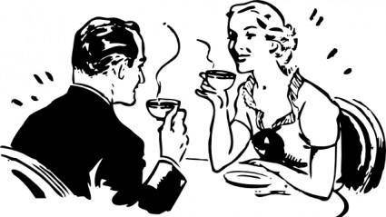 Coffee Couple clip art