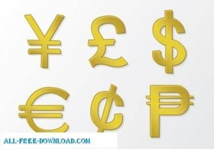 Golden Vector Money Symbols