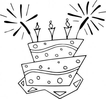free vector Flat_cake_bw clip art