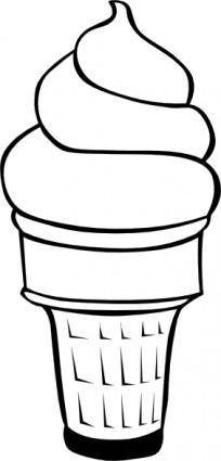 Soft Serve Ice Cream Cone (b And W) clip art