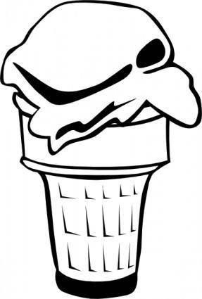 Ice Cream Cone (1 Scoop) (b And W) clip art