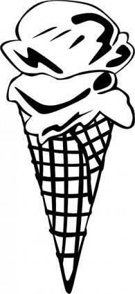 Ice Cream Cone (2 Scoop) (b And W) clip art