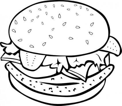 Chicken Burger (b And W) clip art