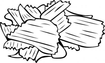 Potato Chips (b And W) clip art