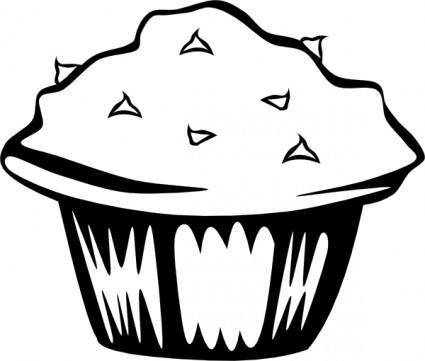 free vector Double Chocolate Muffin (b And W) clip art